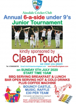 AINSDALE CRICKET CLUB's ANNUAL 6-A-SIDE UNDER 9'S JUNIOR TOURNAMENT